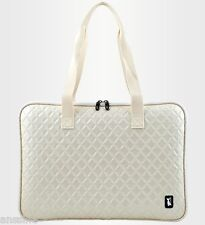"15.6""~16"" women laptop bag Light Beige Diamond Pattern memory foam shoulder bag"