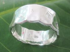 """925 sterling silver HAMMERED FLAT """"VERY THICK"""" 8mm wedding band Ring - UNISEX"""