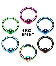 "PAIR 16g~5/16"" (8mm) Titanium Anodized 316L Surgical Steel Captive Bead Rings"