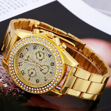 Fashion Golden and Silver Color Bling Crystal Lady Women Watch Quartz Wristwatch