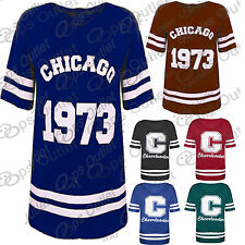 New Womens Oversized Baseball Cheerleader Chicago Baggy Ladies Long T Shirt Top