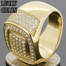 MEN`S STAINLESS STEEL ICED OUT LAB DIAMOND GOLD RING/15g/G18