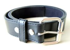 Black Press Stud Snap Fit PU Leather Belt 38mm Wide with Removeable Buckle