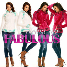 NEW SEXY WOMEN'S FLEECE JACKET 6 8 10 12 14 WARM CASUAL WINTER CLOTHES OUTERWEAR