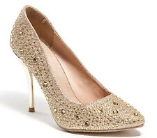 Lady Couture Ladies Sparkly Pump Heel Shoes Lu Lu Gold Champagne Lady Couture