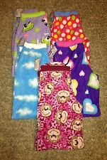 Womens MONKEY FROG CLOUDS HEARTS POLK DOT Plush Micro Fleece Lounge Pajama Pants