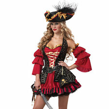 Pirate Deluxe Vixen Wench Gypsy  Ladies Fancy Dress Costume  6 8 10 12 14 16 new