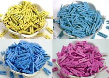 50 Wood Clothespins, tiny wooden clothes pins, clothpegs - Blue, Yellow, Fuchsia
