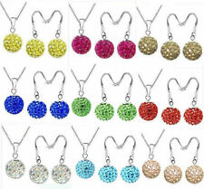 Shamballa 10mm Crystal Disco Ball Pendant Necklace and Dangle Earrings Set