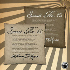 Shakespeare Sonnet No. 12 Two Sided Cushion Cover (Two Colour Choices)