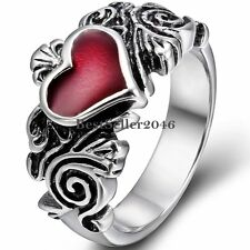 Black Silver Stainless Steel Red Heart Love Promise Engagement Ring for Ladies
