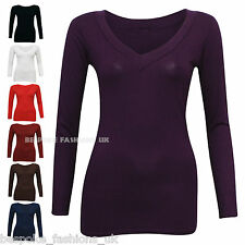 H8A New Women's Long Sleeve Stretchy Body Hugging Viscose V-Neck Tops Sizes 8-18