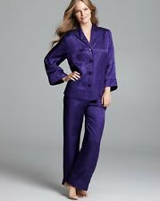 NEW Oscar De La Renta Herringbone Jacquard Pajama Set 689452 Purple Medium