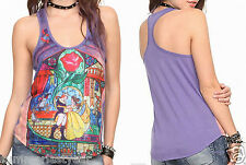 "*NEW* JUNIORS ""ROSE"" STAINED GLASS TANK  TOP DISNEY'S BEAUTY AND THE BEAST"