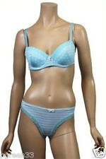 Ladies Aqua & White Polka Dots Bra & Thong Set By Jolie Seducation Lingerie