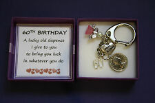 LUCKY SIXPENCE KEEPSAKE CHARM KEYRING 60th BIRTHDAY Gift Box Present Male Female
