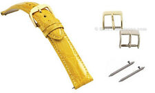 Genuine Crocodile Skin Yellow Ladies Fast Change Watch Band, All Sizes Available