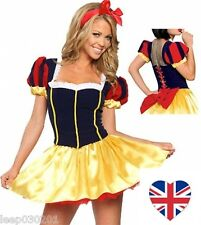 Ladies Deluxe Sexy Snow White Style Costume Fancy Dress Womans Fairytale 6 -16