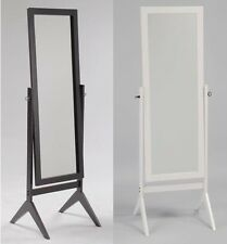 Swivel Full Length Wood Cheval Floor Mirror, Espresso/White Finish New