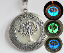 The Original Glow Antique Silver Picture Locket Chain Necklace Tree of Life