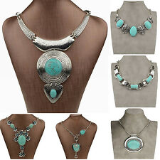 Mixed Noble Turquoise Tibetan Silver Choker Collar Bib Pendant Necklace ZSZ219