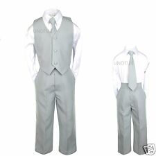 Baby Boys Toddler Wedding Formal Party Vest Set Silver Gray Suits S-4T, 5-7
