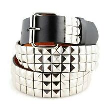 3-Row Metal Pyramid Studded Leather Belt Unisex Men's Women's Punk Rock Goth Emo