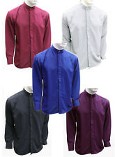 MENS SIMPLE STYISH GRANDDAD NECK QUALITY PLAIN PURE MICROFIBRE SHIRTS