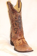 Ladies Corral Vintage Leather Square Toe Cowgirl Boots Metal Cross Boot - C1168