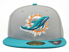 Miami Dolphins NEON LOGO POP 59Fifty NFL Hat by New Era=Grey/Aqua