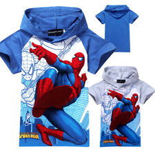 Kids Baby Boys Spiderman Short Sleeve Spring T-shirt Tops Size 3-8 Years new