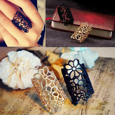 European Fashion Ring Black and Gold Tone Flowers Hollow Long Ring Free Shipping