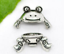 Wholesale HOT! Jewelry Charm Bead Caps Set Frog Silver Tone 15x9mm