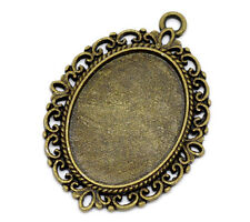 Wholesale HOT! Jewelry Cameo Settings Bronze Tone Oval Frame 39x29mm