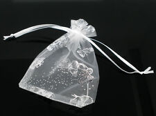Wholesale HOT! Jewelry Organza Bags&Pouch Wedding Gift White Butterfly 16x13cm