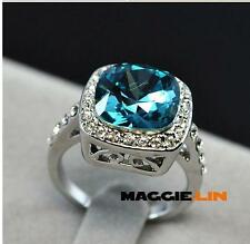 18k GP White Gold Plated Crystal Square Noble Ring Size :5 6 7 8 9