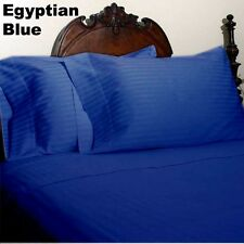 Extra US, Canada Sizes 1000TC Egyptian Blue Stripe Fitted Sheet 1PCs 100% Cotton