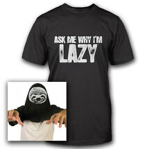 SLOTH ASK ME WHY I'M LAZY FLIP OVER TEE FUNNY CUTE ZOO ANIMAL GEEK T-SHIRT TEE