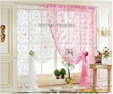 Pair of Gorgeous Pink Or White Butterfly Curtains Each panel 100cm x 200cm
