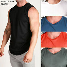 Men's Poly MUSCLE TRAINING Top DRY FABRIC Slim FIT Running Gym Workout Tank
