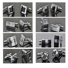 18 Classic style High Quality Mens Silver Steel Wedding Cufflinks