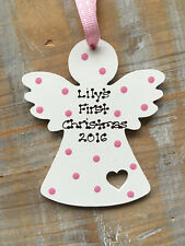 Personalised Baby's First Christmas Tree Decoration Angel Wooden Blue Pink Spots
