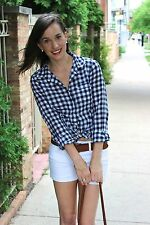 NWT J Crew Classic Button down Shirt In Gingham,Navy Blue Check, 2XS XS,S,M,L,XL