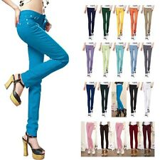 Womens Stretch Candy Pencil Pants Casual Slim Fit Skinny Jeans Trousers 6 Size