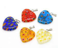 Wholesale DIY Jewelry Mixed Millefiori Glass Lampwork Heart Charm Pendants