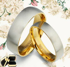 His and Her Gold Wedding Titanium Wedding Rings 089A3