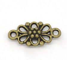 Wholesale HOT! Jewelry Bronze Tone Flower Connectors Findings 16x8mm