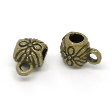Wholesale HOT! Jewelry Bronze Tone Flower Pattern Bail Beads 9x6mm