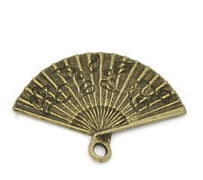 Wholesale HOT! Jewelry Bronze Tone Hand Fan Charm Pendants 24x17mm