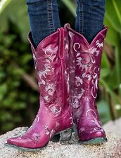 Lane Western Boots Womens Cowboy Lacey Fuchsia Pink
